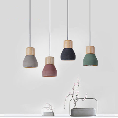 American Country Style - Cement/Wood Pendant Light - 120cm - E27 / E26 - 4 Colors