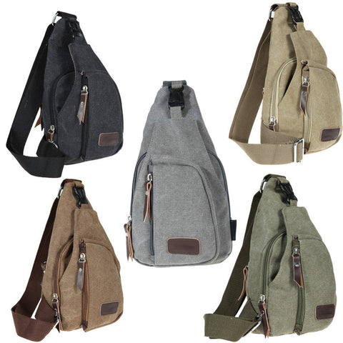 Men Sports Military Messenger Bag - Canvas - Small Crossbody Fanny Shoulder Pack