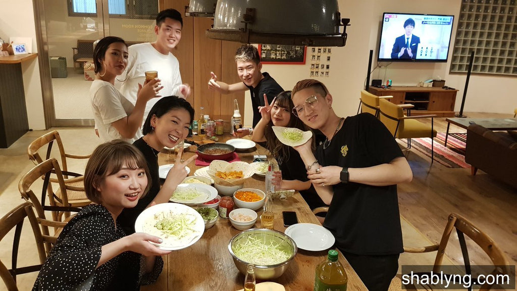 I go down into the kitchen and my neighbor is hosting a dang taco night for his friends! Some things really are global! #JapanLife #SameButDifferent