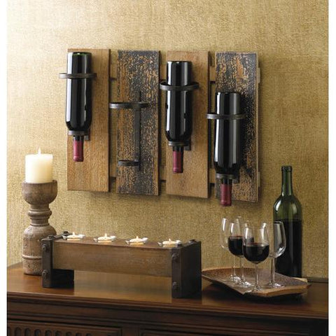 Image of Rustic Wall Mounted Wine Rack