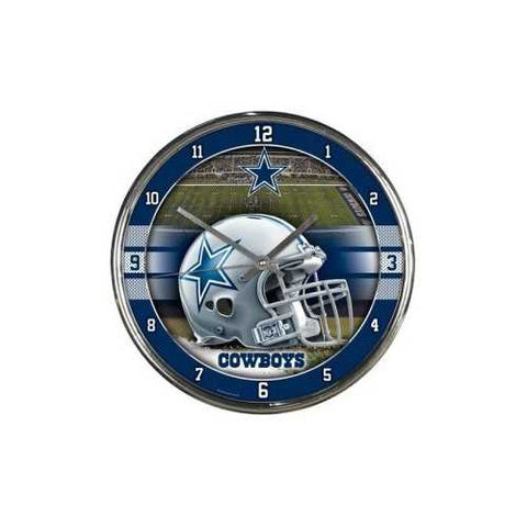Dallas Cowboys Round Chrome Wall Clock