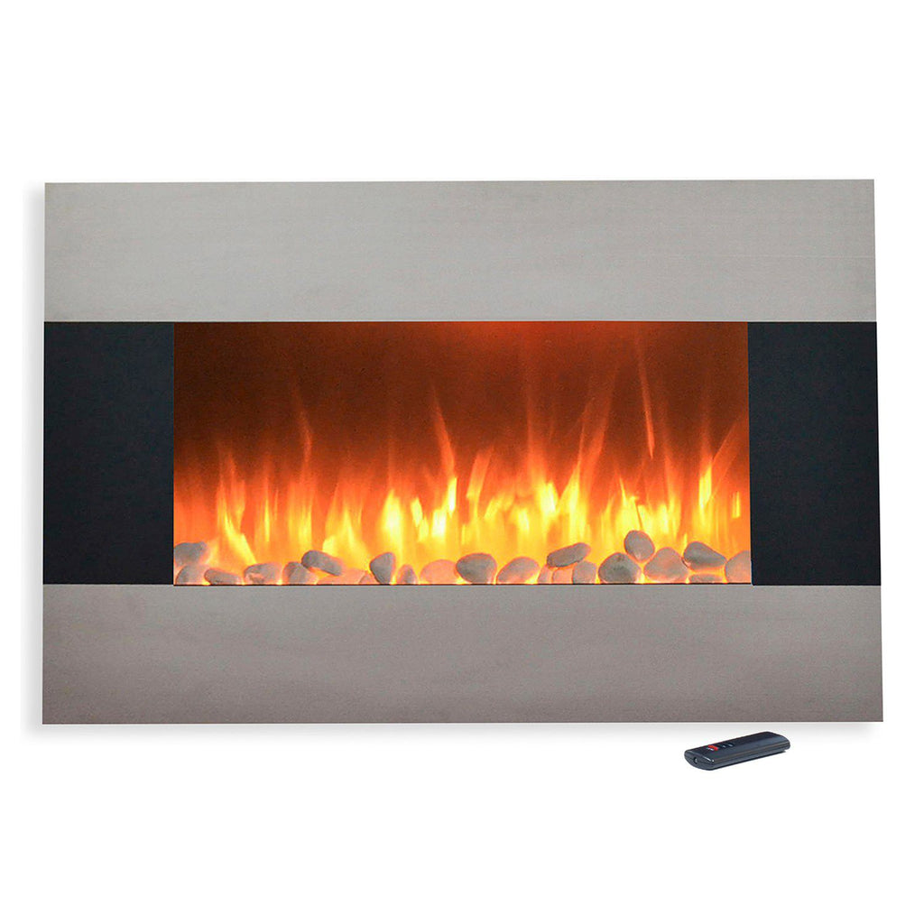 "Northwest 36"" Stainless Wall Mount Electric Fireplace & Floor Stand"