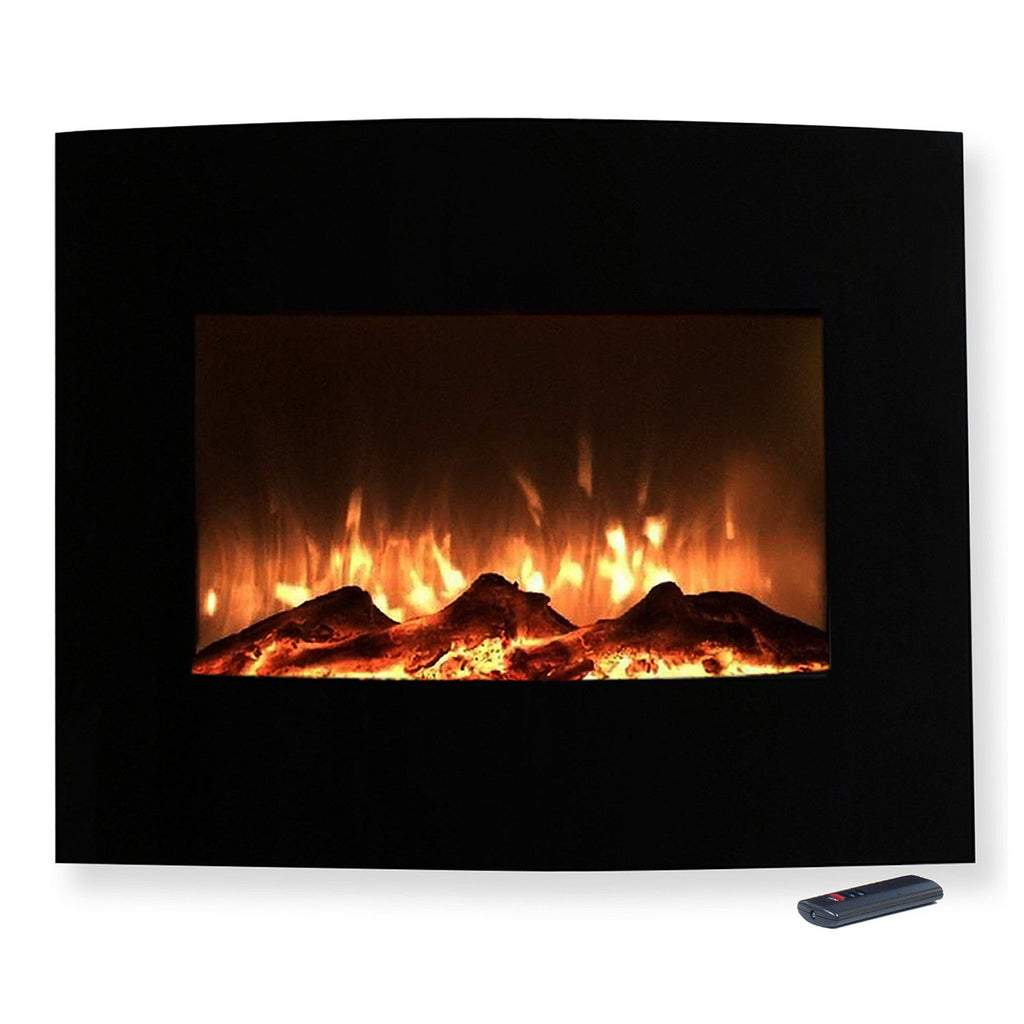 "Northwest 25"" Mini Curved Wall Mount Fireplace & Floor Stand"
