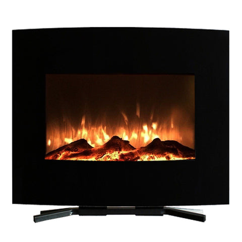 "Image of Northwest 25"" Mini Curved Wall Mount Fireplace & Floor Stand"