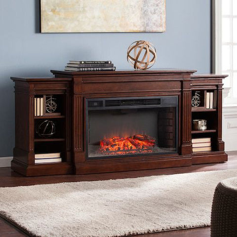 Image of Raymond Bookcase Electric Fireplace