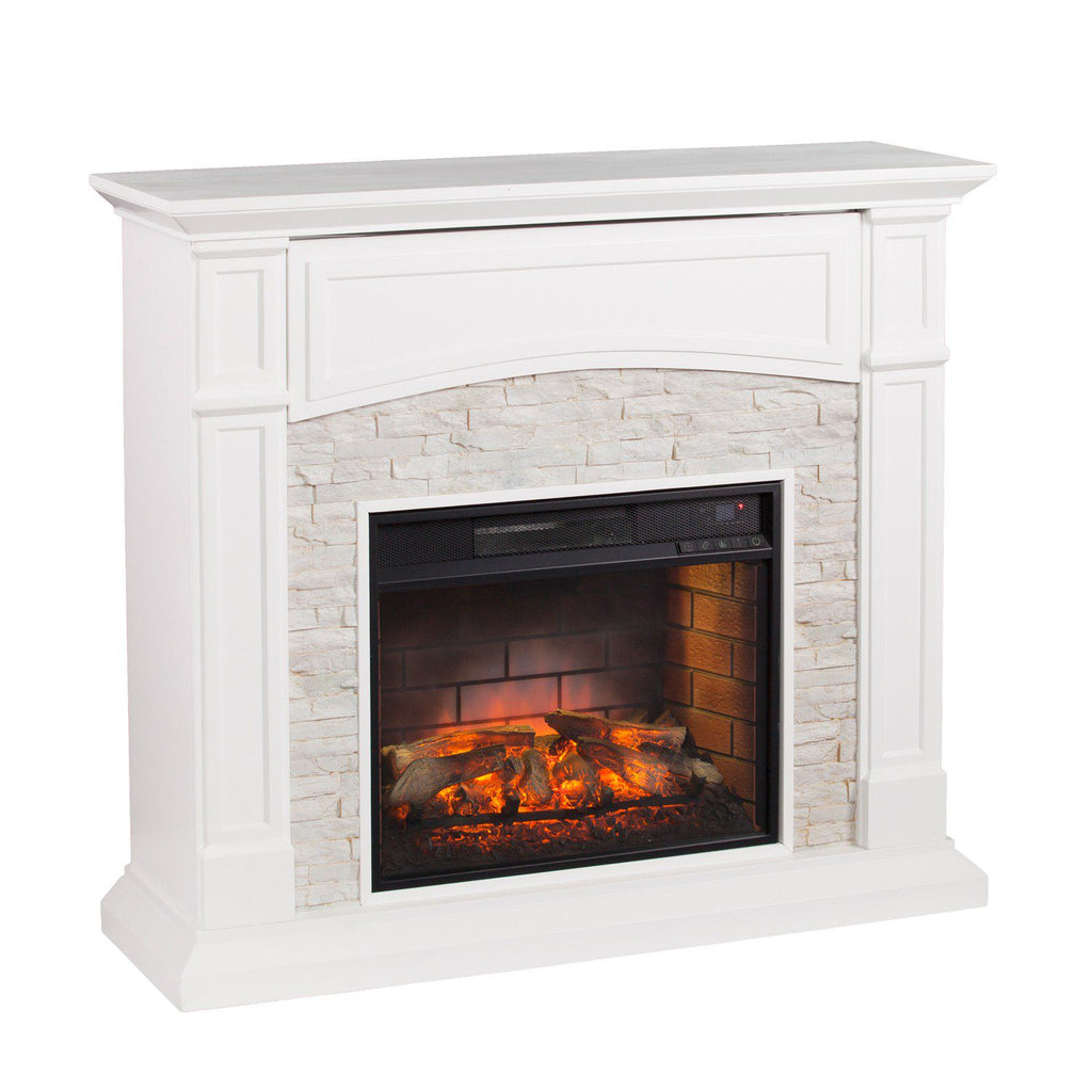 Shannon Faux Stone Infrared Electric Fireplace
