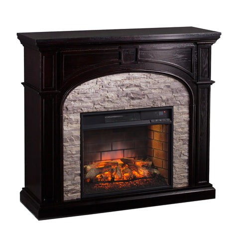 Image of Knapp Faux Stone Infrared Electric Fireplace