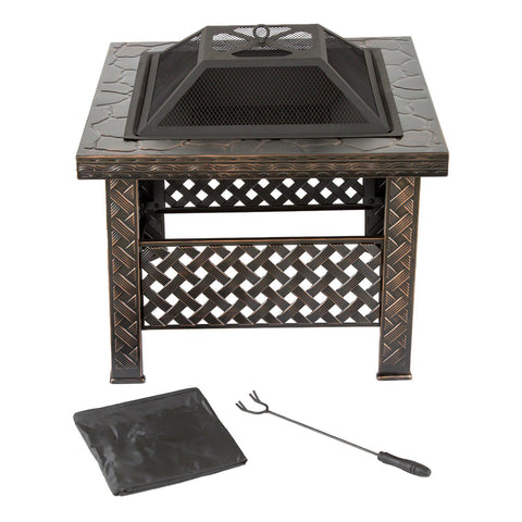 Image of Navarro 26-in. Square Outdoor Fire Pit 4-piece Set