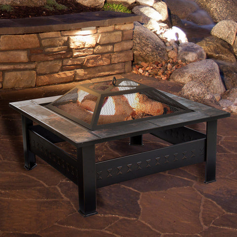Image of Navarro 32-in. Square Outdoor Fire Pit 4-piece Set