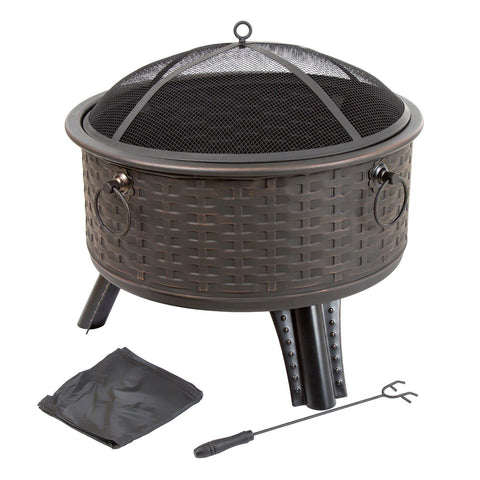 Image of Navarro 26-in. Round Outdoor Fire Pit 4-piece Set