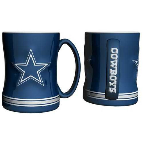 Dallas Cowboys Coffee Mug - 14oz Sculpted Relief - Blue