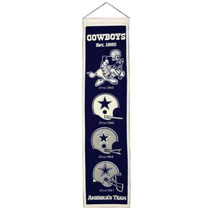 Dallas Cowboys Banner 8x32 Wool Heritage