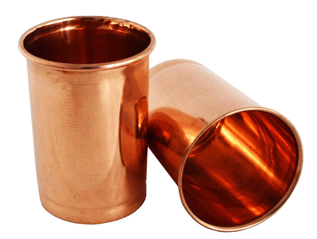 Set of 2 Ayervedic Hand Crafted Pure Copper Water Glasses