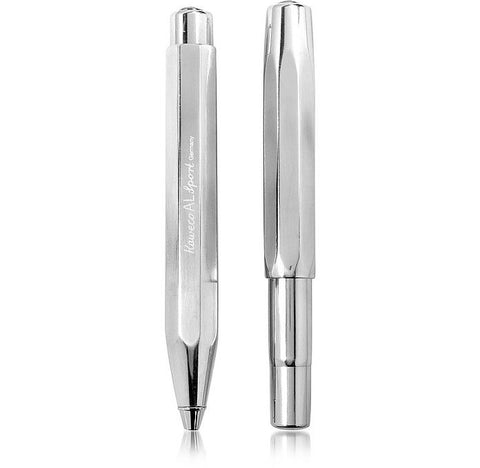 Image of Chrome Plated Aluminium Rollerball & Fountain Pen Set