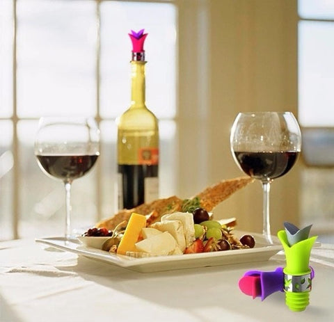 Image of Leak Proof Lily Wine Bottle Stopper & Anti Spill Pouring Lip