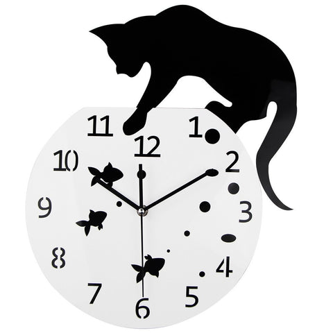 Image of 3D Cat & Fish Design Quartz Wall Clock