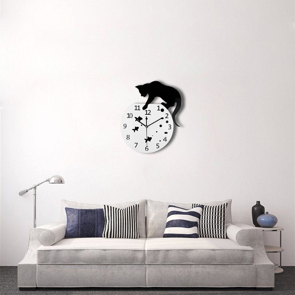 3D Cat & Fish Design Quartz Wall Clock