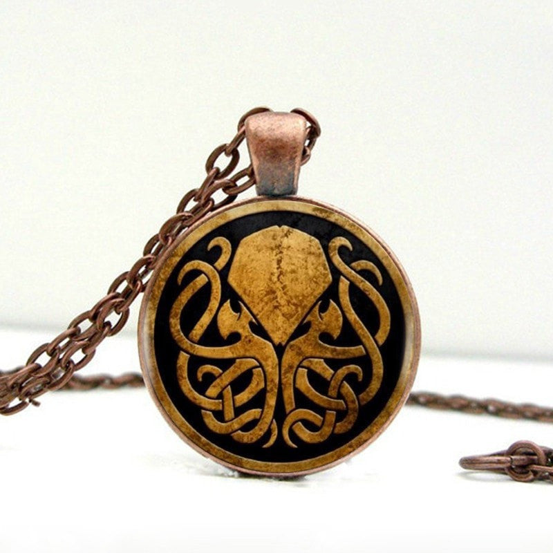 Vintage Bronze / Copper Cthulhu Pendant on Long Chain