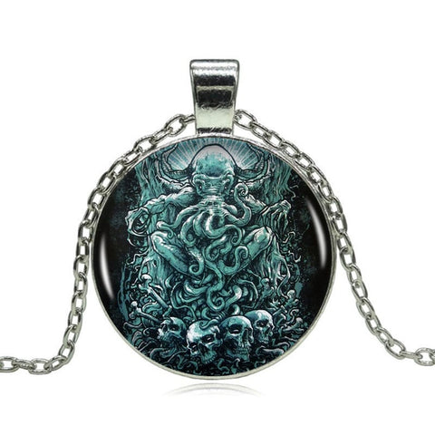 Image of Intricate Handmade Cthulhu Pendant on Long Silver Chain