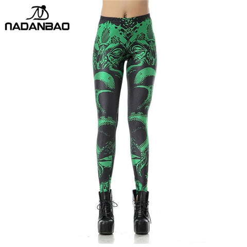 Image of High Waist CTHULHU Green Black Leggings