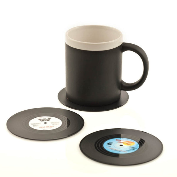 6 Silicone Vintage Vinyl Coasters with Gift Box