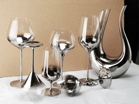 Image of Luxury Silver Crystal Mix & Match Wine Glasses & Decanters