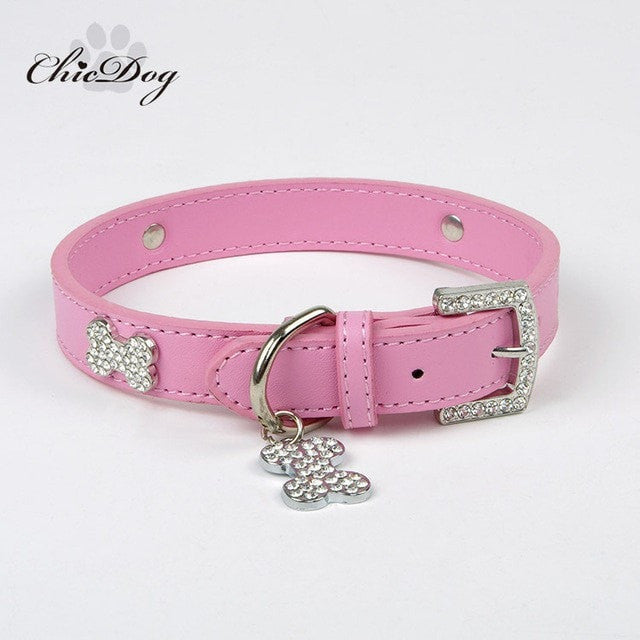Leather Rhinestone Dog Collar