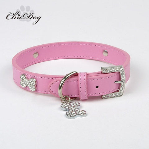 Image of Leather Rhinestone Dog Collar