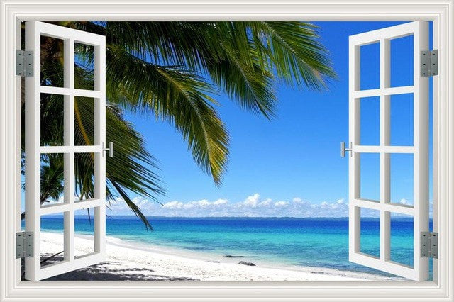 Summer Beach Coconut Tree 3D Wall Sticker Seaside Landscape Removable Wallpaper 3D Window View Wall Decal Stickers Home Decor