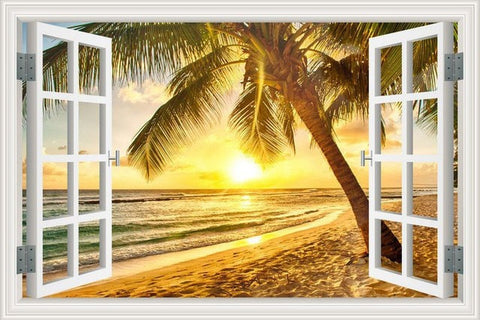 Image of Summer Beach Coconut Tree 3D Wall Sticker Seaside Landscape Removable Wallpaper 3D Window View Wall Decal Stickers Home Decor