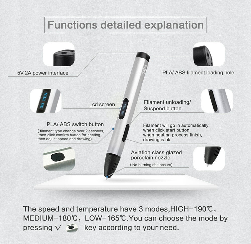 USB 3D Pen Adjustable Speed & Temperature