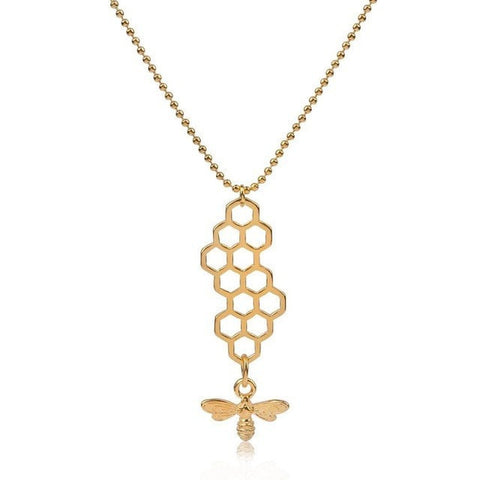 Image of Gold Plated & Antique Gold Style Honeycomb Bee Pendant