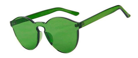 Image of Green Tinted Thick Lens Rimless Glasses
