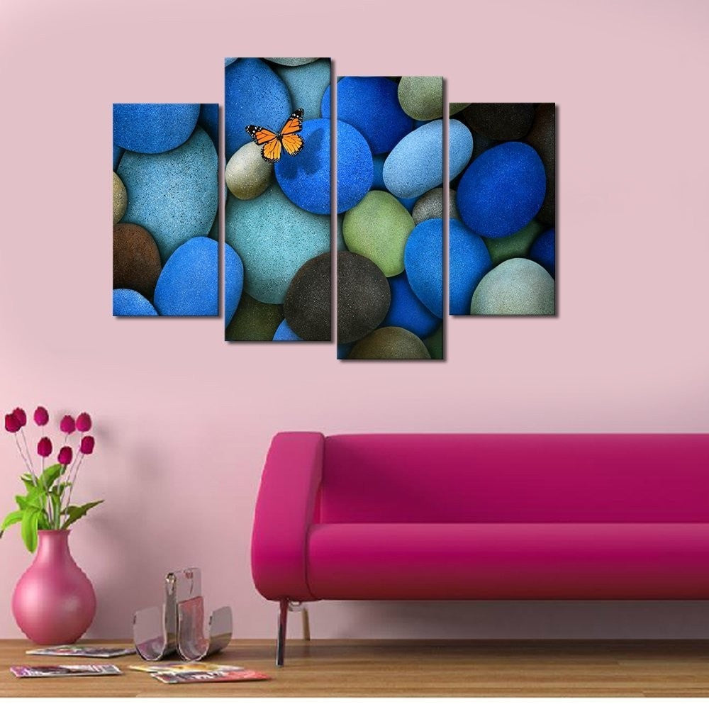 Blue Stone Butterfly Canvas