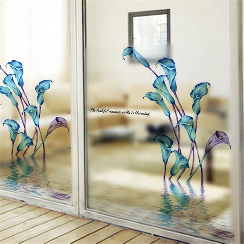 Image of Frosted Glass Flower Shower Decal
