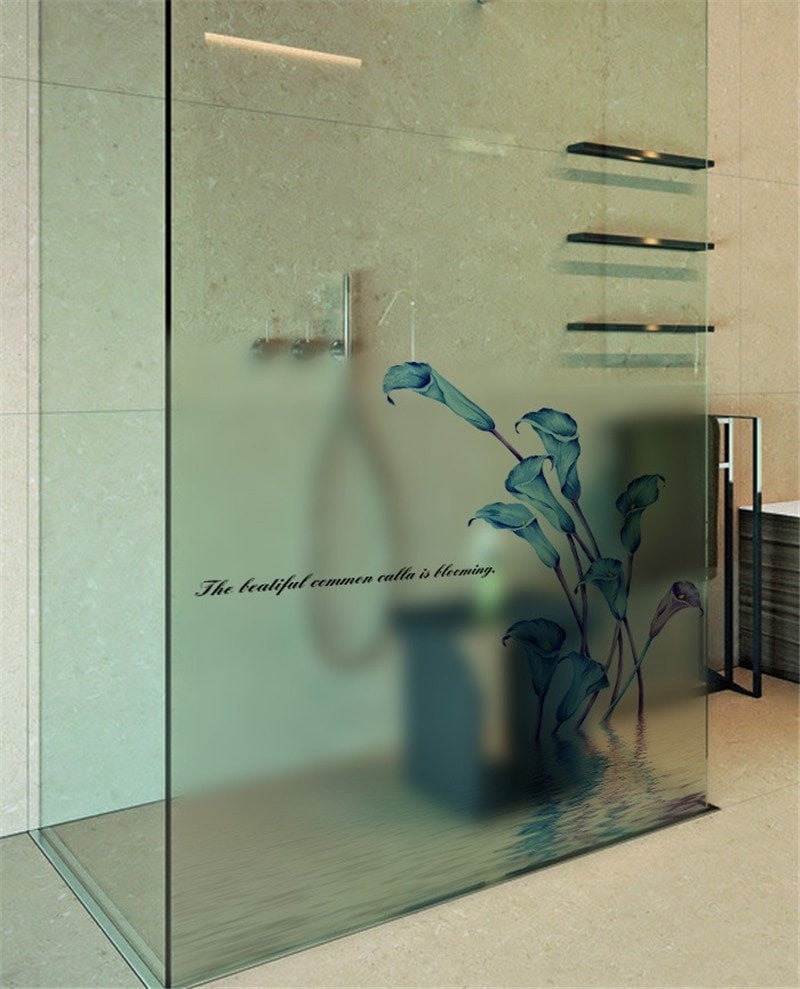 Frosted Glass Flower Shower Decal