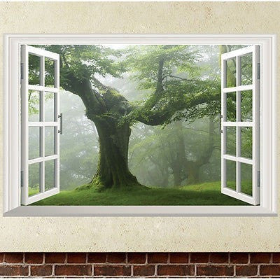 Ancient Tree 3D Window Wall Decal