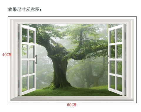 Image of Ancient Tree 3D Window Wall Decal