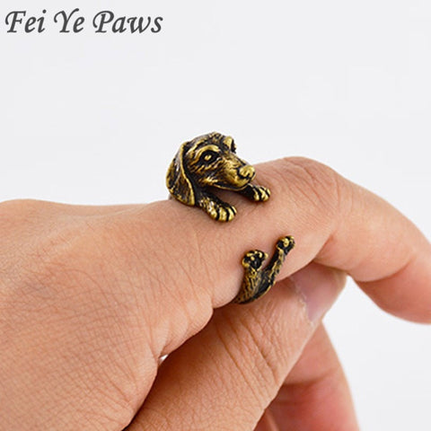 Vintage Dachshund Adjustable Ring