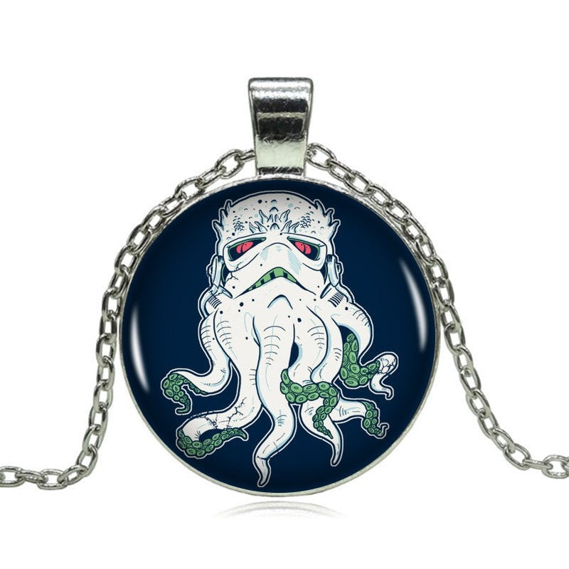 Cthulhu Pendant on Long Silver Chain