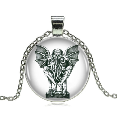 Image of Vintage Cthulhu Pendant on Long Silver Chain