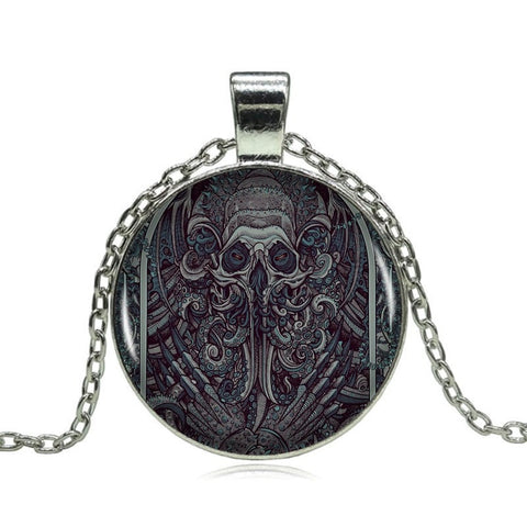 Image of Handmade Cthulhu Pendant on Long Silver Chain