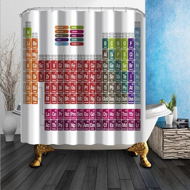 Shower Curtain Periodic Table / Map / Octopus / Lighthouse / Feather