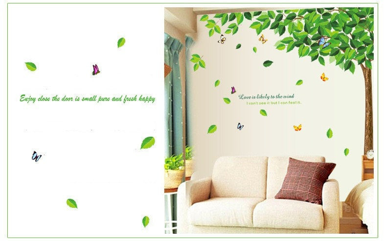 Green Tree & Butterfly Wall Decal