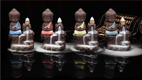 Image of Praying Buddha Waterfall Incense Burner