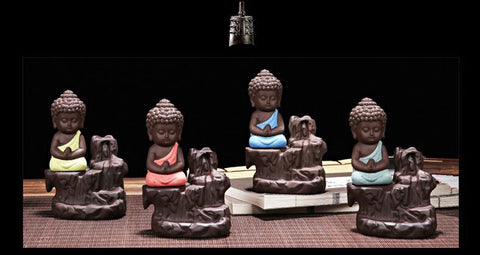 Praying Buddha Waterfall Incense Burner