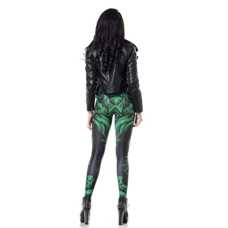 High Waist CTHULHU Green Black Leggings