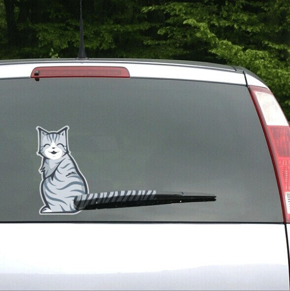 Moving Cat Tail Car Decal
