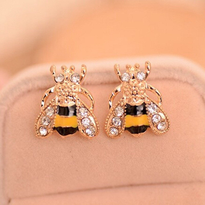 Fabulous Crystal Bee Stud Earrings