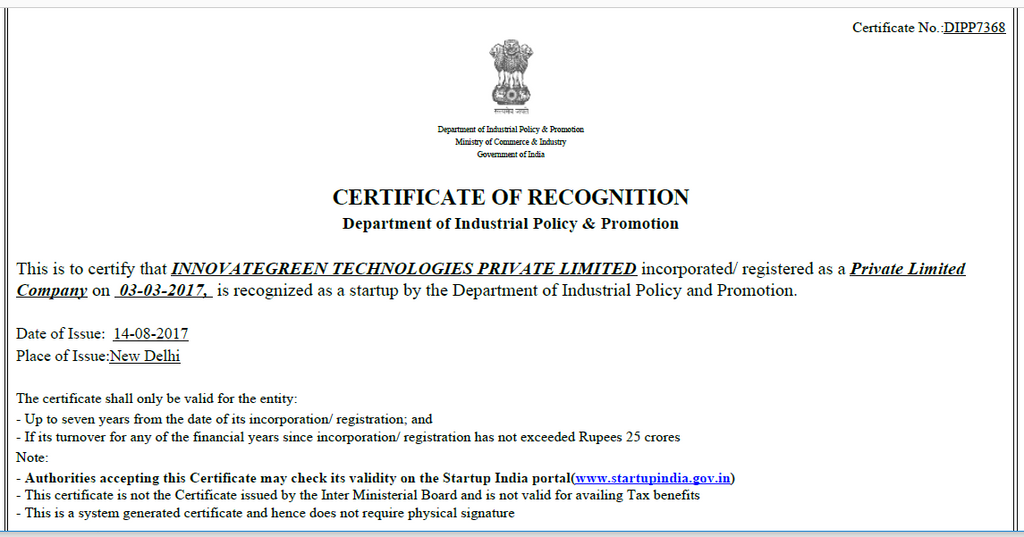 CertificateOfRecognition